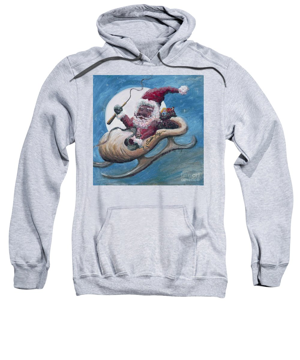 Christmas Sweatshirt featuring the painting Santa Hog by Nadine Rippelmeyer