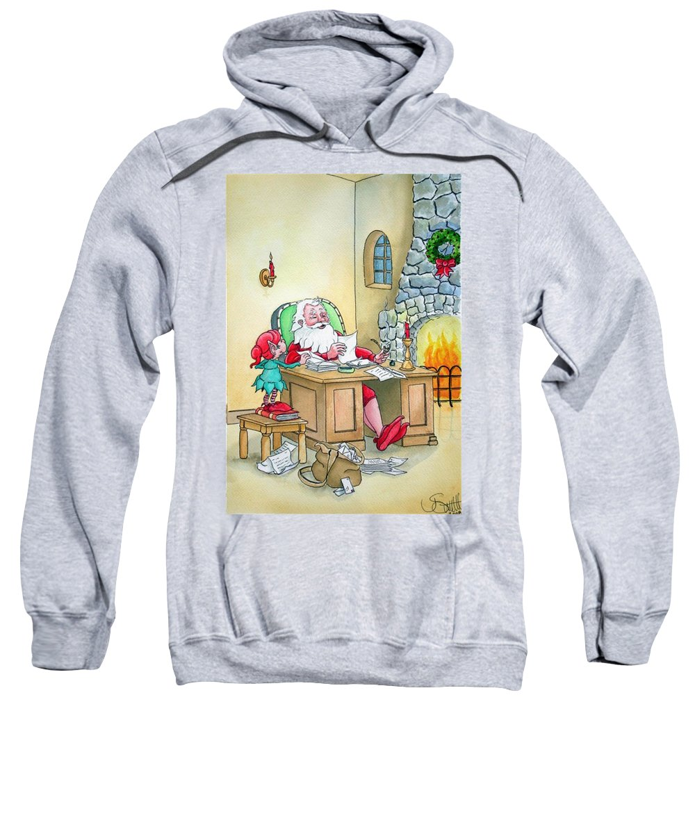 Christmas Sweatshirt featuring the painting Santa by Jimmy Smith