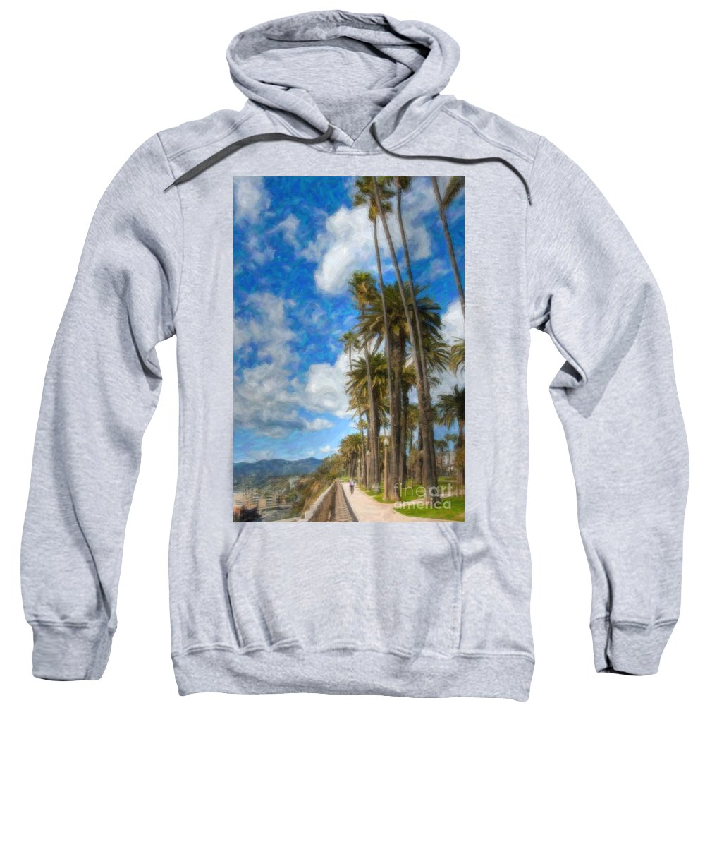Looking North Sweatshirt featuring the photograph Santa Monica Ca Palisades Park Bluffs Palm Trees by David Zanzinger