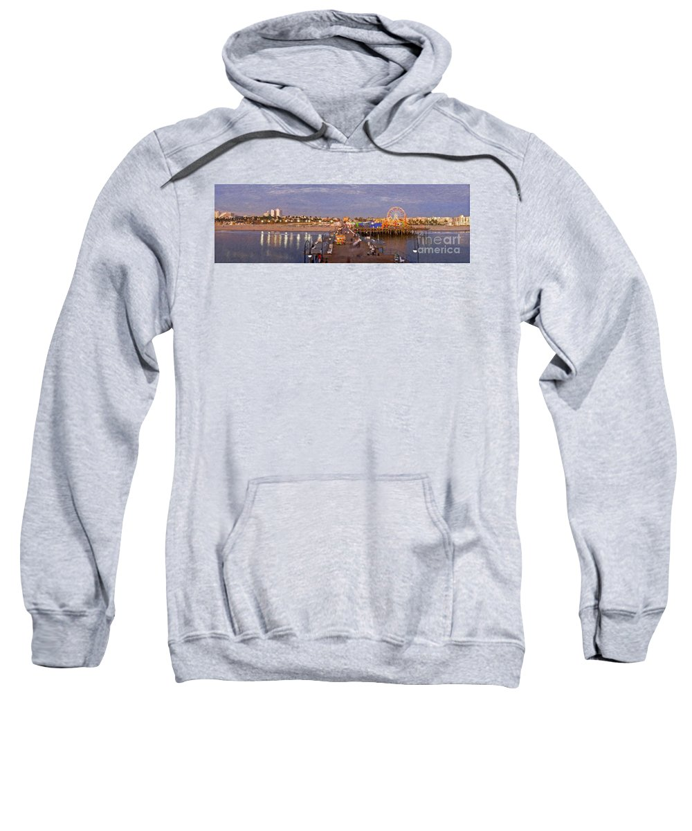 Santa Monica Pacific Park Pier Sunset Panoramic Sweatshirt featuring the photograph Santa Monica Pacific Park Pier Skyline Panoramic by David Zanzinger