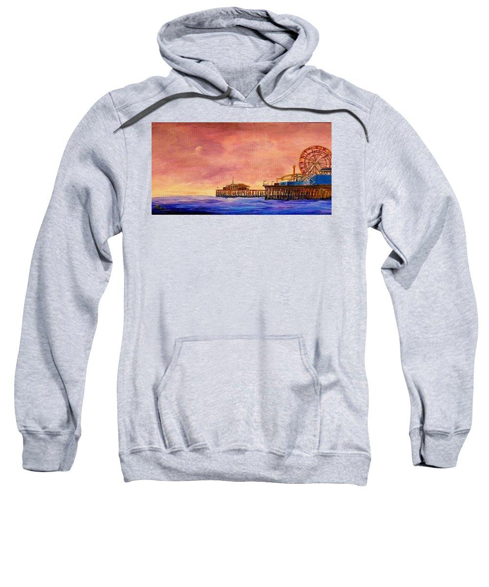 Santa Monica Sweatshirt featuring the painting Santa Monica Pier by Irving Starr