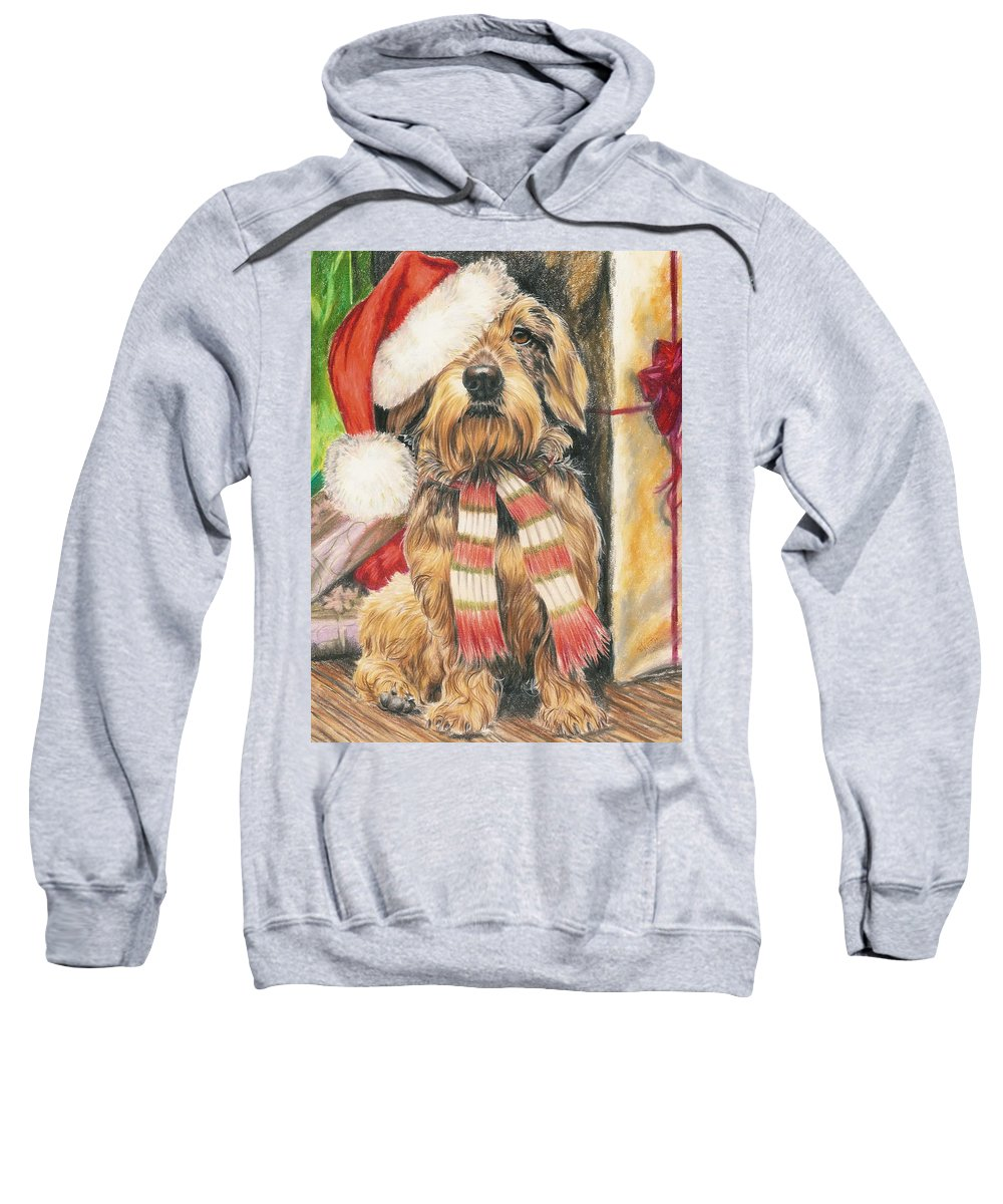 Dogs Sweatshirt featuring the drawing Santas Little Yelper by Barbara Keith