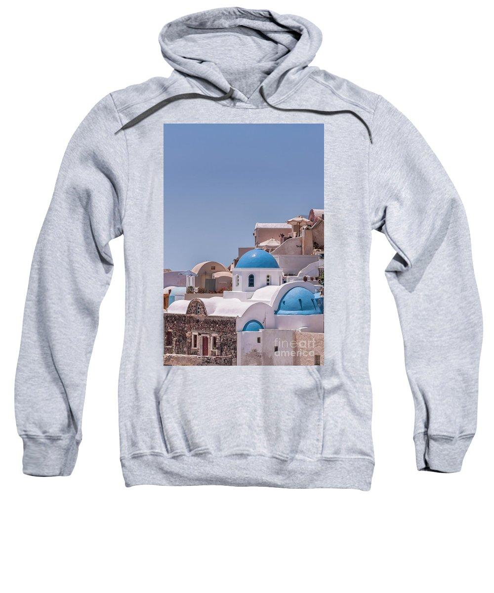 Greece Sweatshirt featuring the photograph Santorini Church In Oia by Antony McAulay