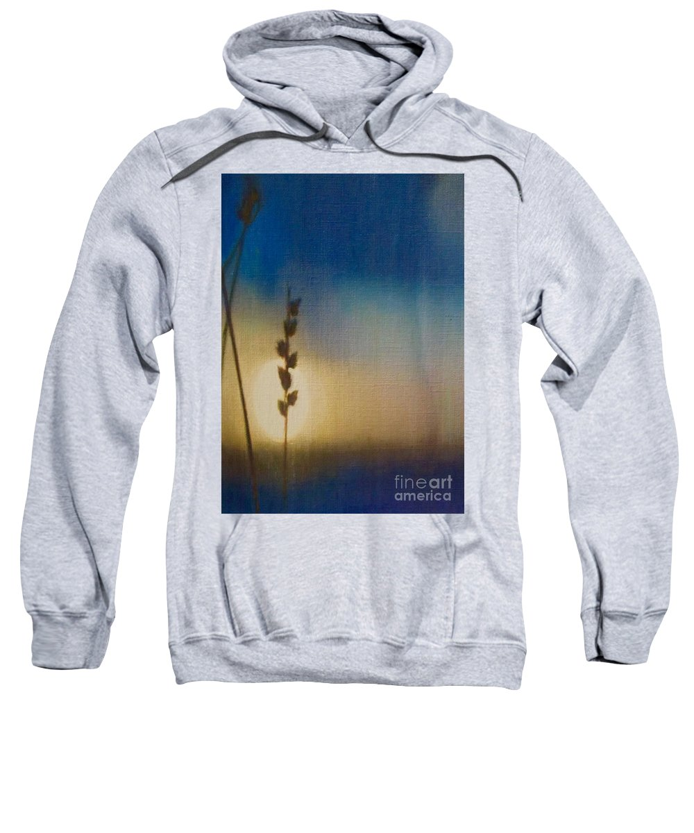 Blue Art Sweatshirt featuring the painting Sapphire Twilight by Cara Frafjord