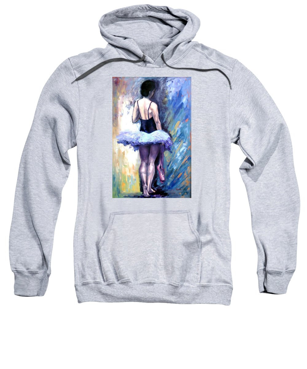 Ballerina Sweatshirt featuring the painting Satin Shoes by Janet Lavida