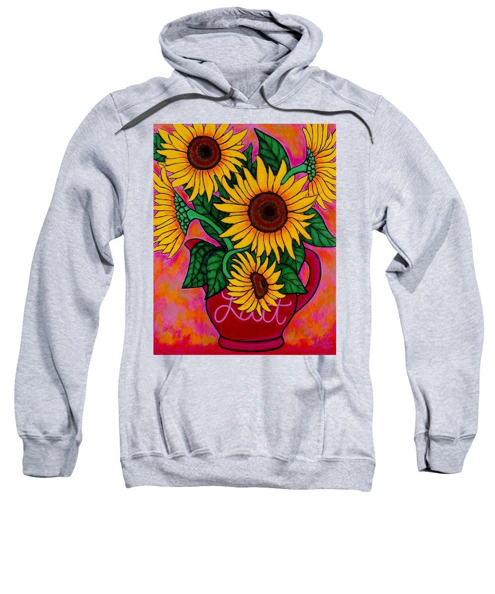 Sunflowers Sweatshirt featuring the painting Saturday Morning Sunflowers by Lisa Lorenz