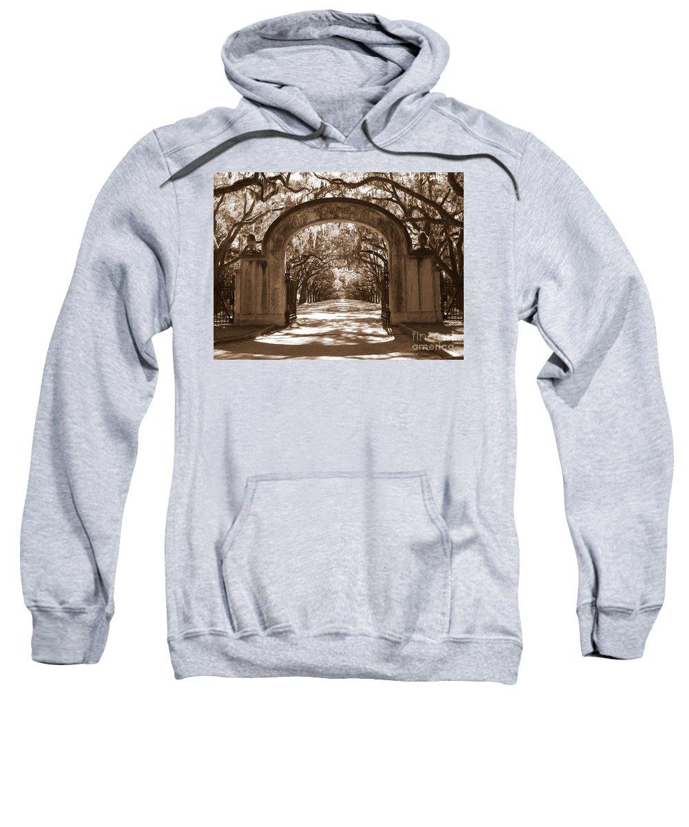 Savannah Sweatshirt featuring the photograph Savannaha Sepia - Wormsloe Plantation Gate by Carol Groenen