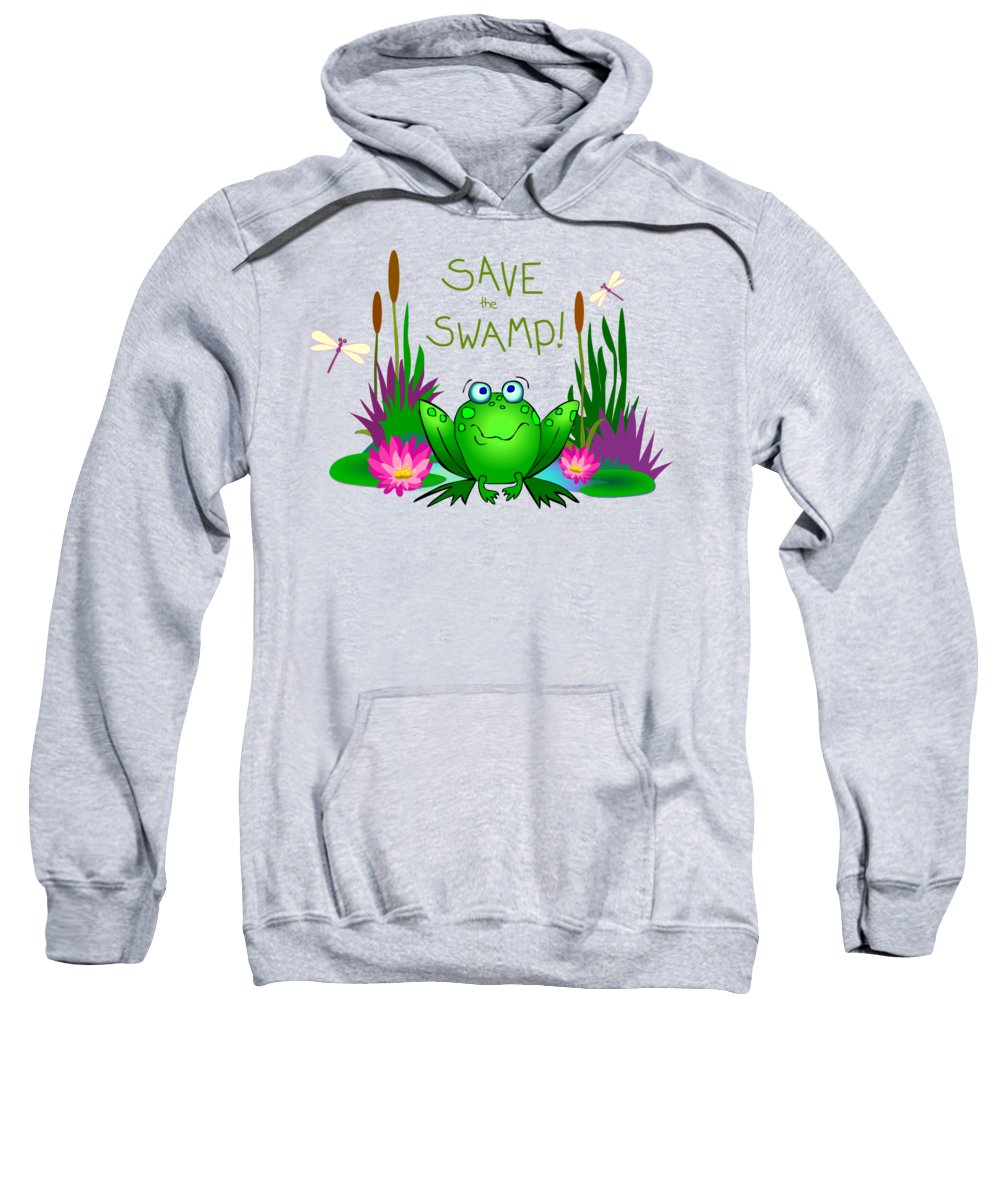 Save The Swamp Sweatshirt featuring the digital art Save The Swamp Twitchy The Frog by M Sylvia Chaume