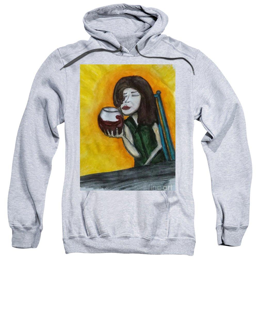 Woman Sweatshirt featuring the drawing Savor by Lisa Paulauskas