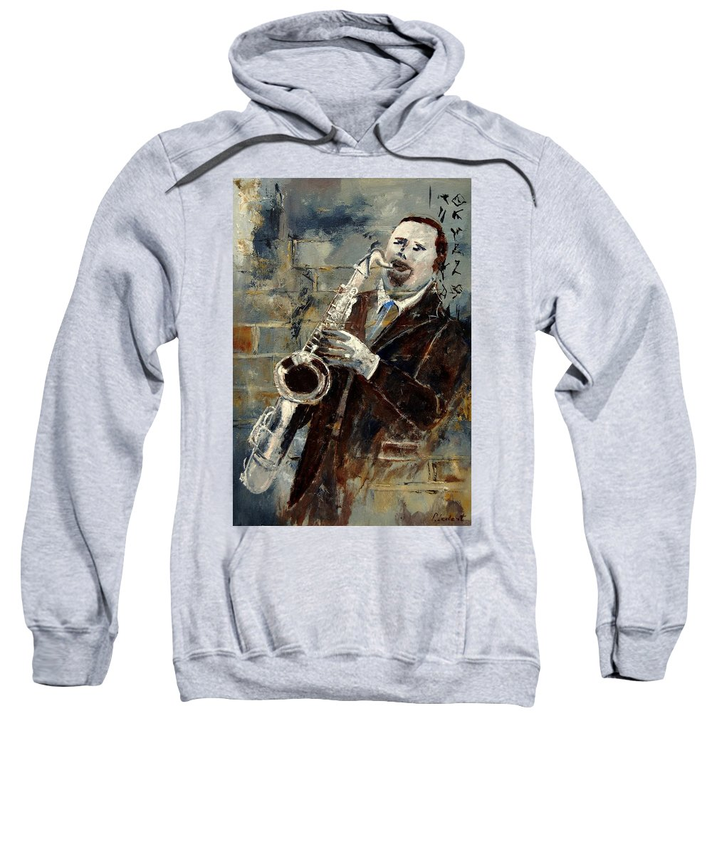 Music Sweatshirt featuring the painting Saxplayer 570120 by Pol Ledent