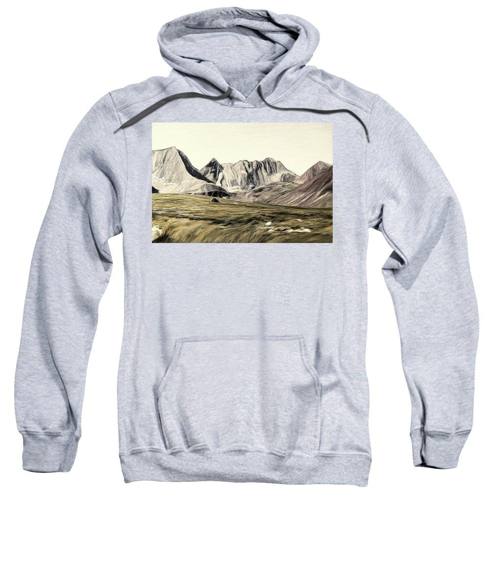 Landscape Sweatshirt featuring the painting Sayan Landscape by Alex Galkin
