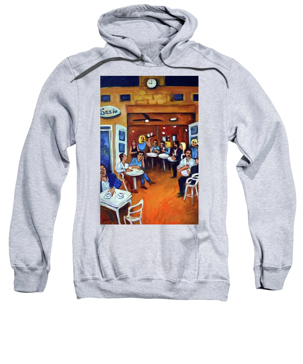 Sidewalk Cafe Sweatshirt featuring the painting Sazio by Valerie Vescovi