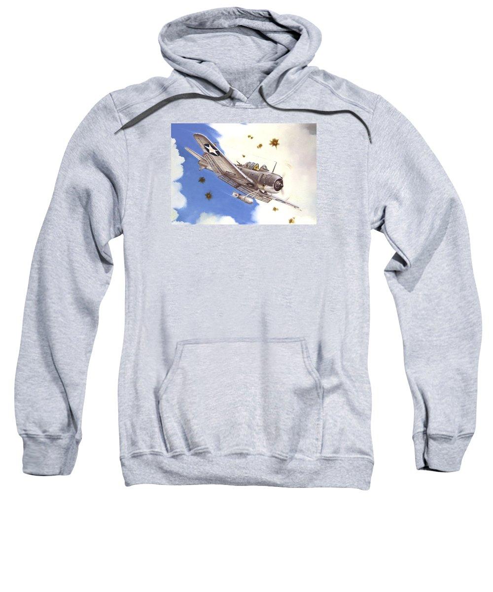 Sbd Sweatshirt featuring the painting SBD-3 Dauntless by Marc Stewart