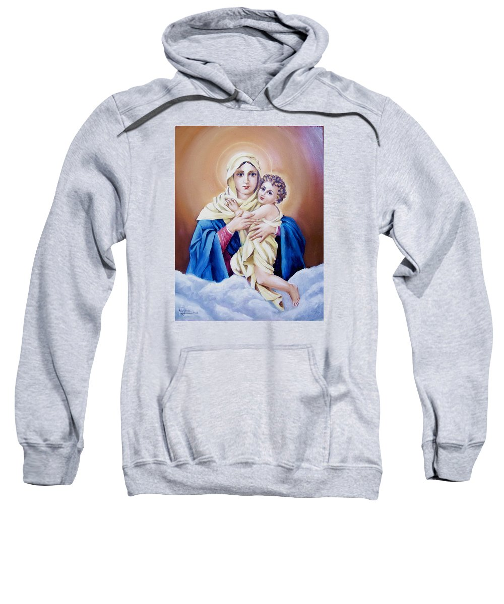 Religious Sweatshirt featuring the painting Schoenstat-tribute by Natalia Tejera
