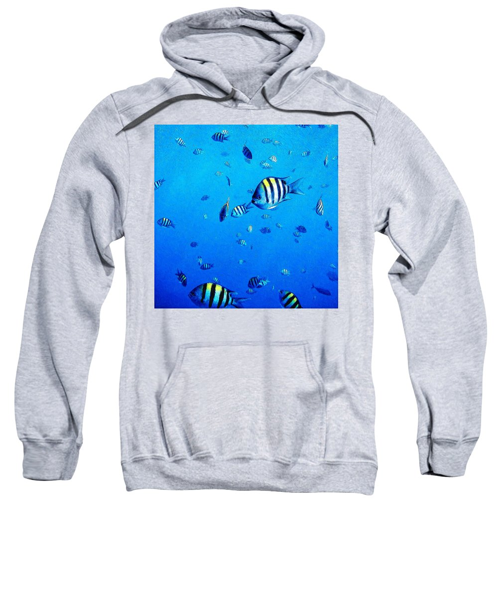 Fish Sweatshirt featuring the painting School by Dominic Piperata