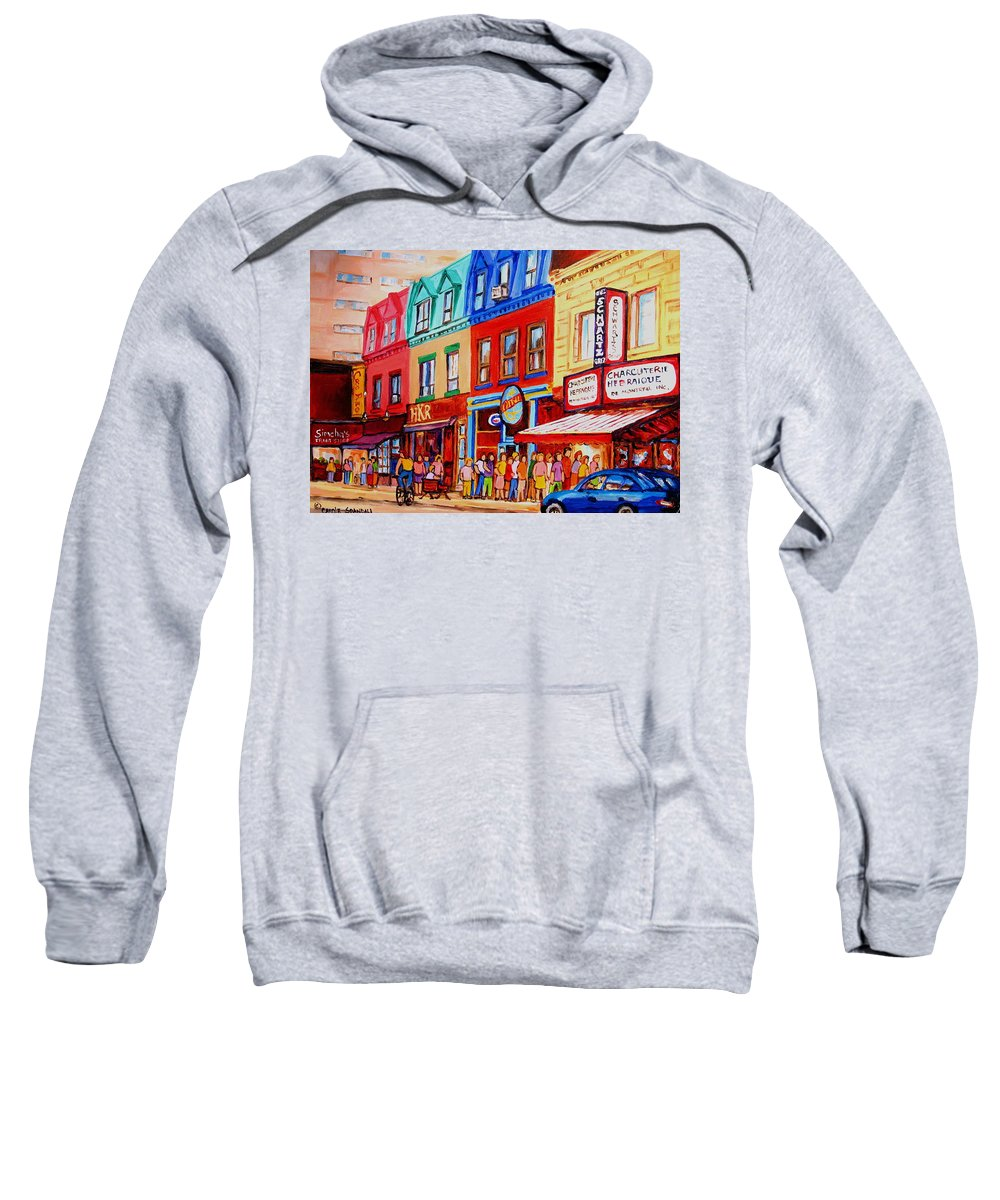 Cityscape Sweatshirt featuring the painting Schwartz Lineup With Simcha by Carole Spandau