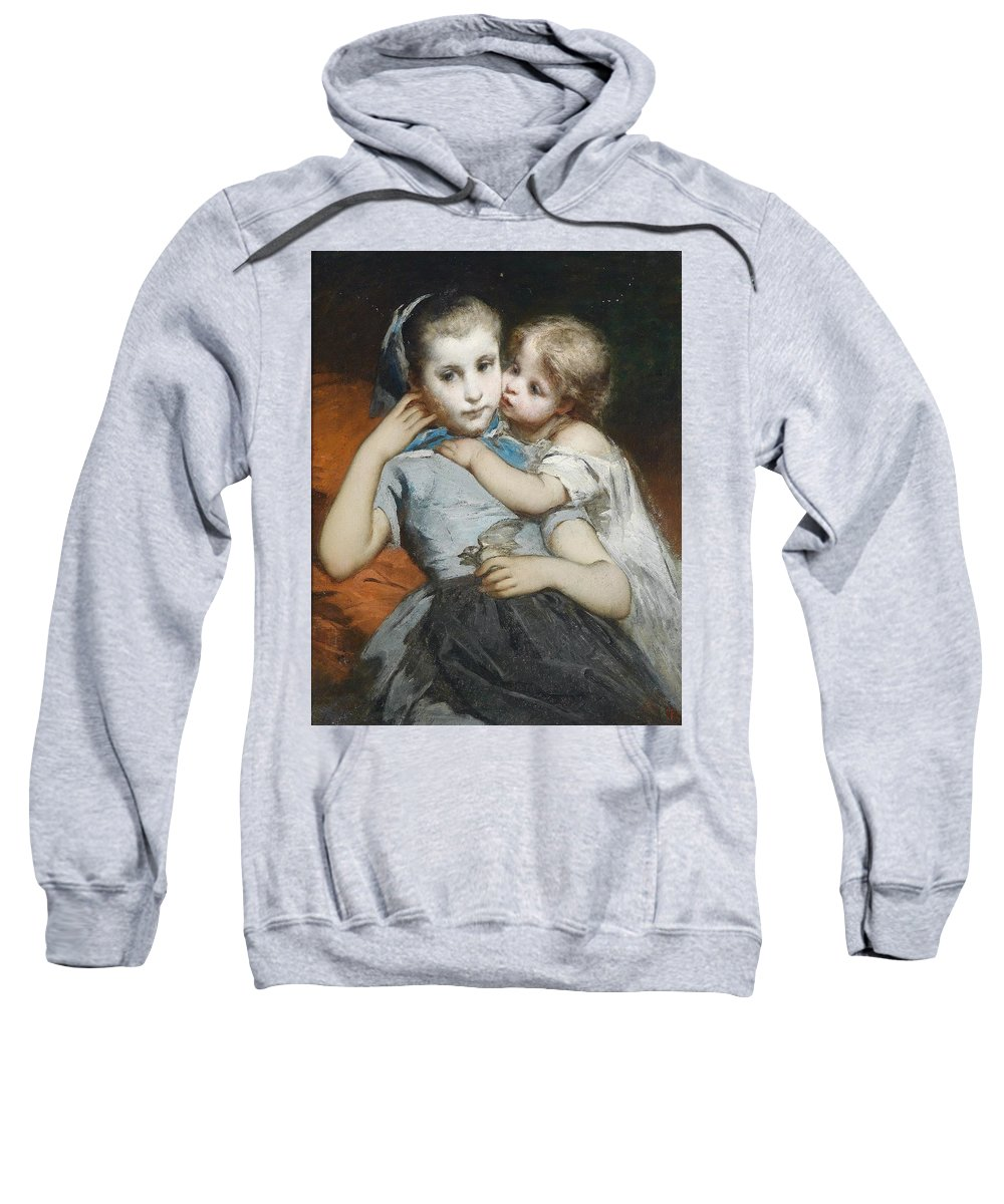 Thomas Couture (attr) Schwestern Sweatshirt featuring the painting Schwestern by MotionAge Designs