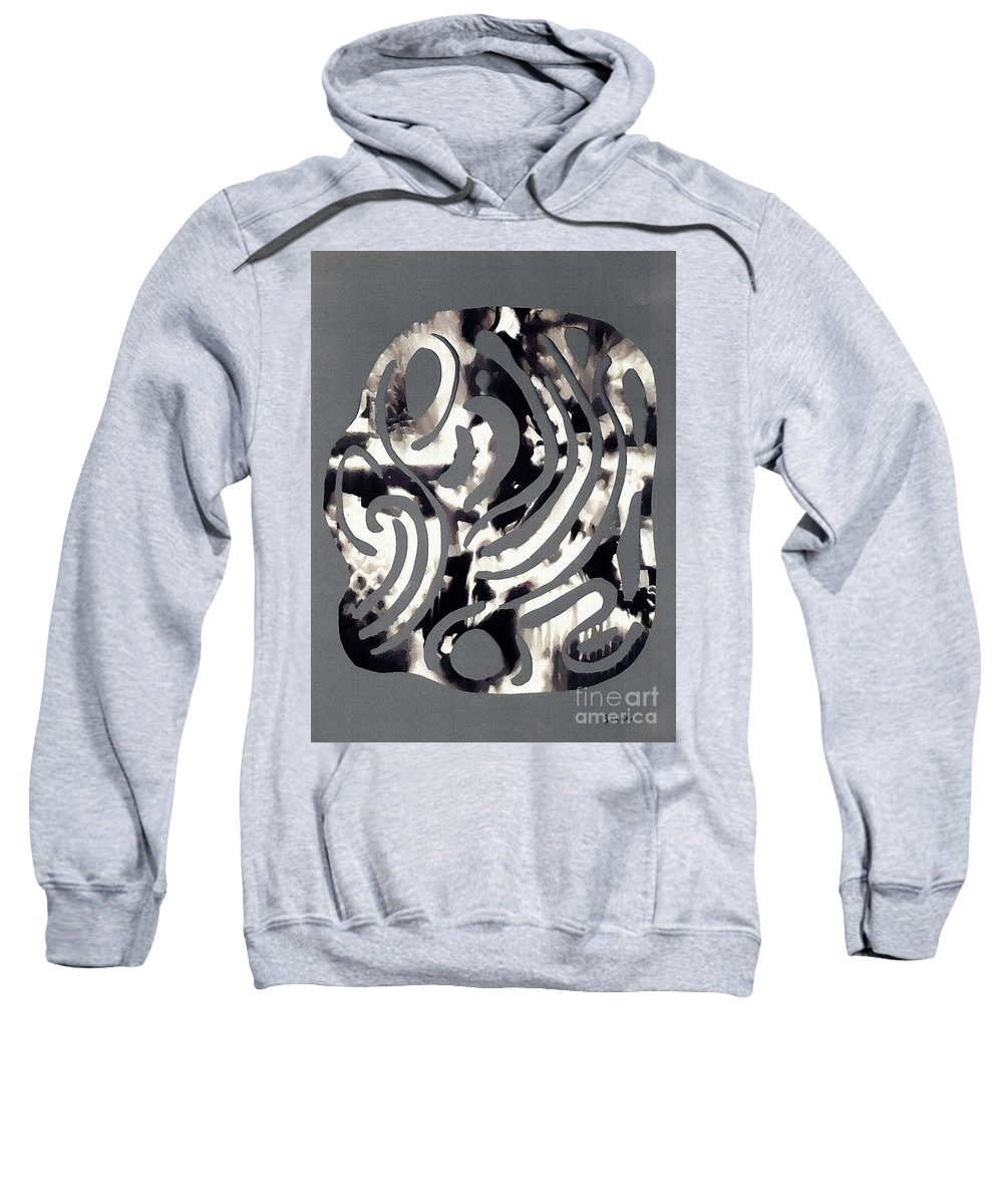 Curve Sweatshirt featuring the mixed media Scissor-cut Abstraction by Sarah Loft