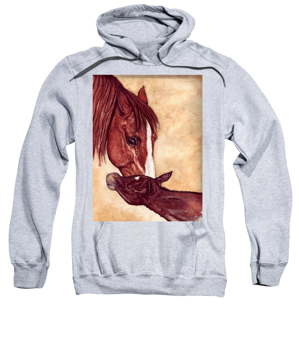 Horse Sweatshirt featuring the painting Scootin by Kristen Wesch