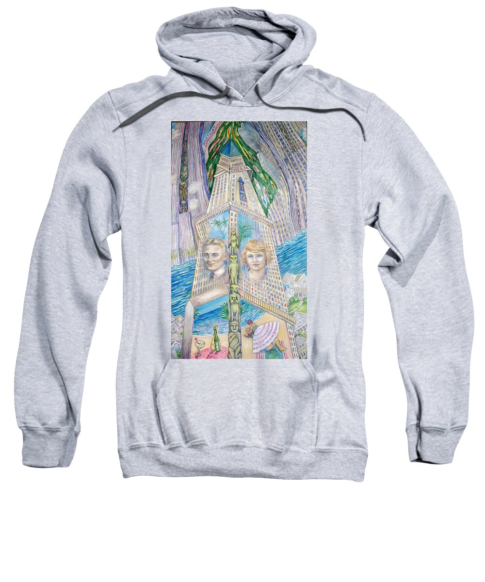 New York Fantasy Sweatshirt featuring the painting Scott And Zelda In Their New York Dream Tower by Patricia Buckley