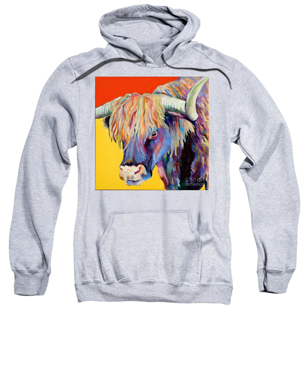 Farm Animal Sweatshirt featuring the painting Scotty by Pat Saunders-White