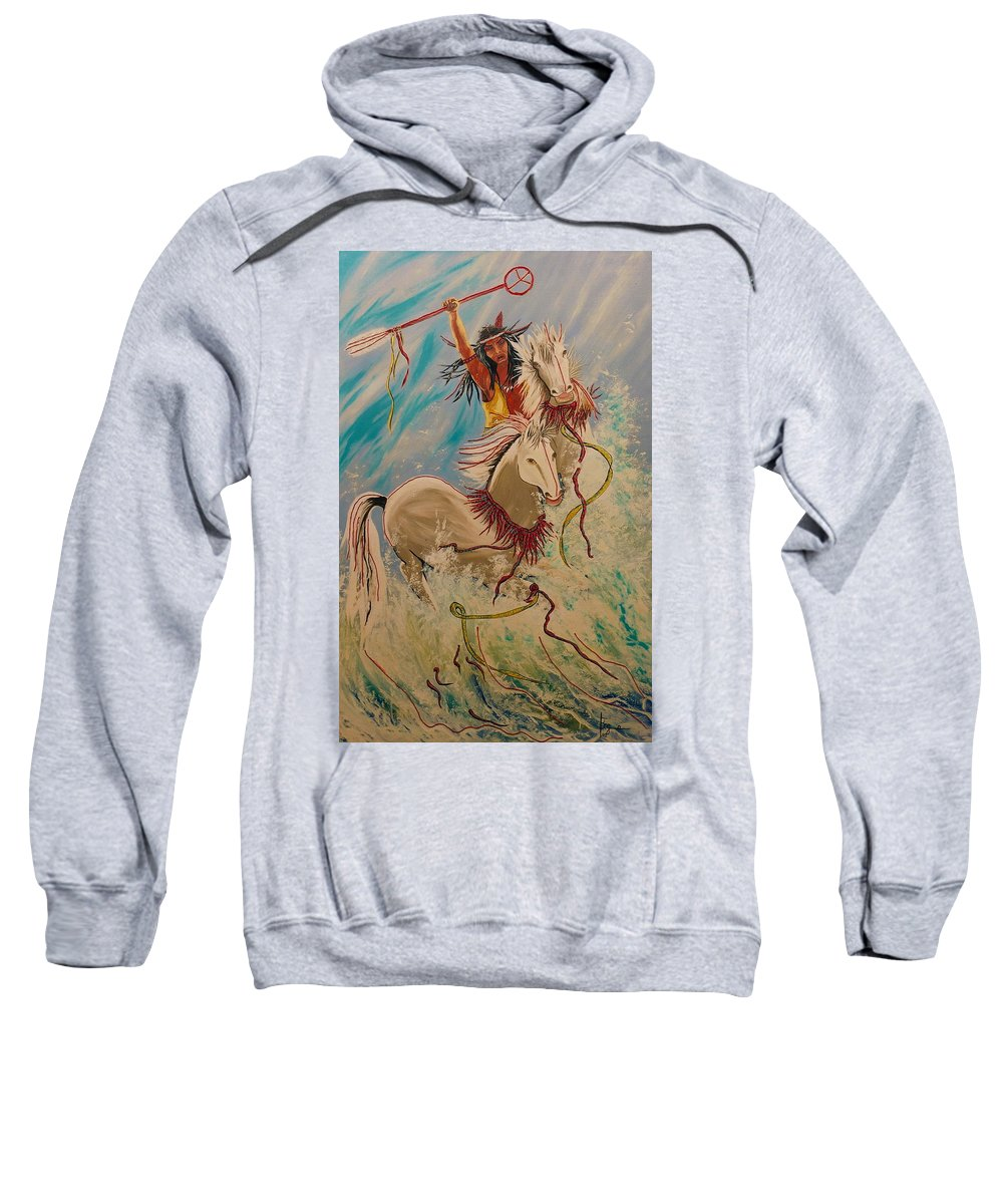 Horses Sweatshirt featuring the painting Scream Of Peace by V Boge