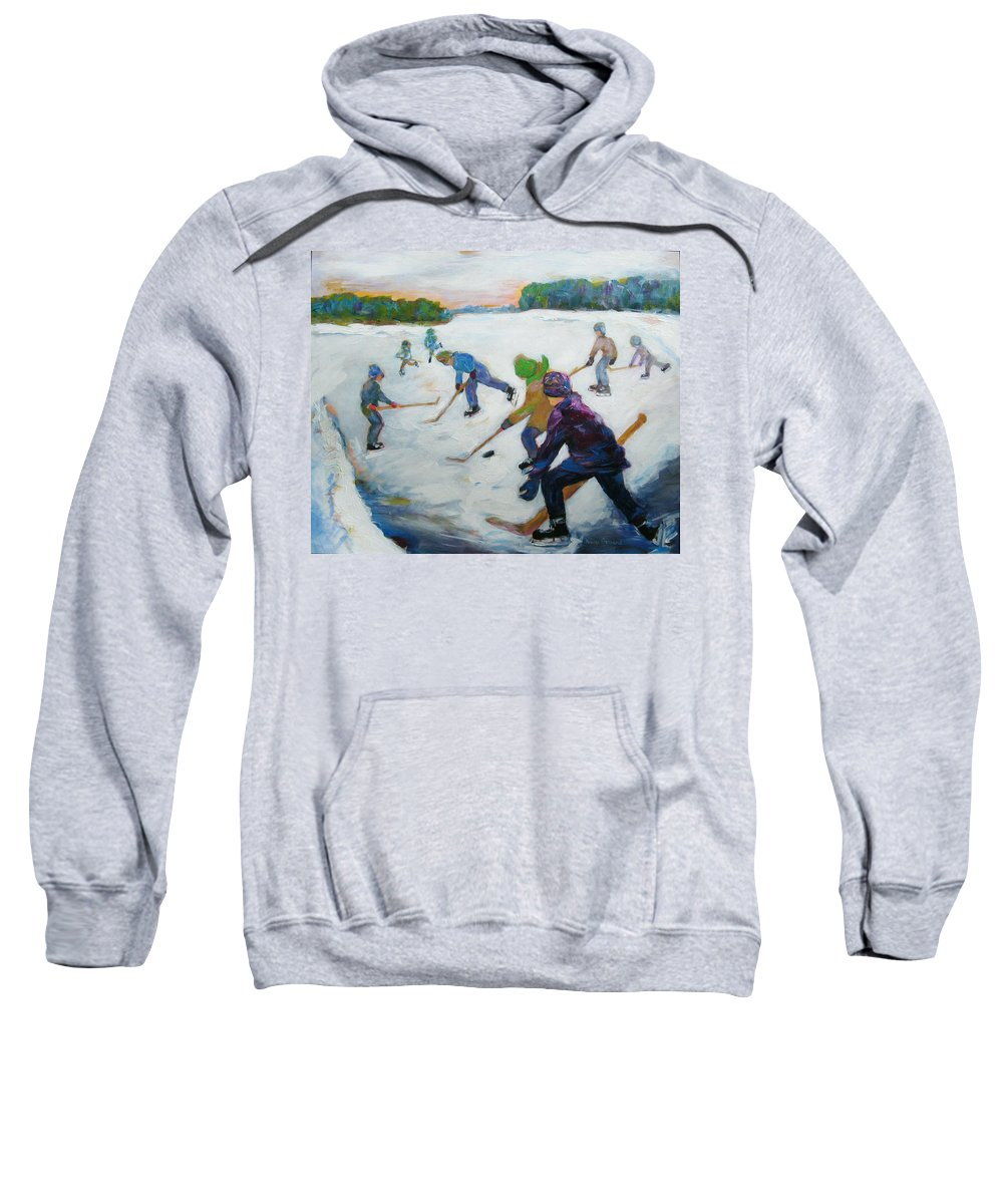 Children Sweatshirt featuring the painting Scrimmage on the River by Naomi Gerrard