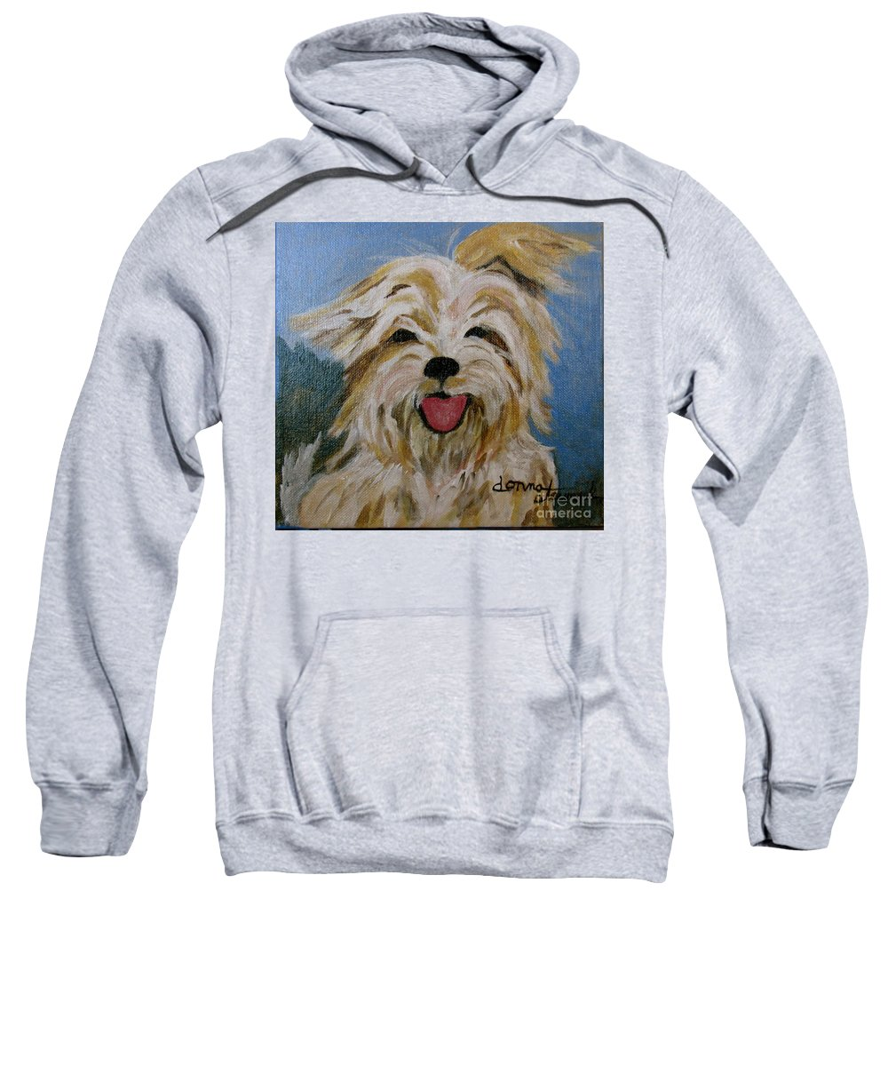 Puppy Sweatshirt featuring the painting Scruffy by Donna Steward