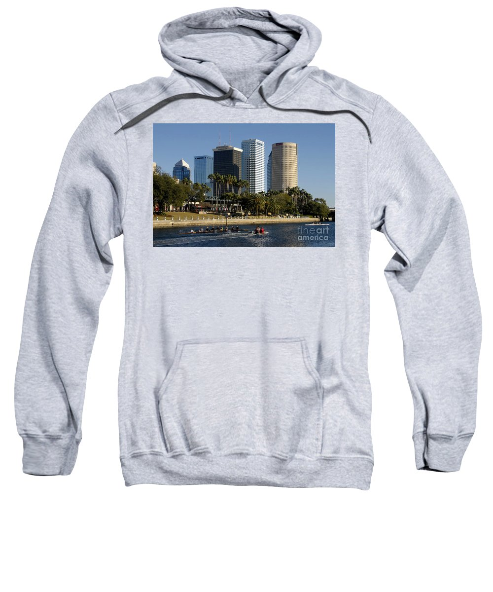 Sculling Sweatshirt featuring the photograph Sculling In Tampa Bay Florida by David Lee Thompson