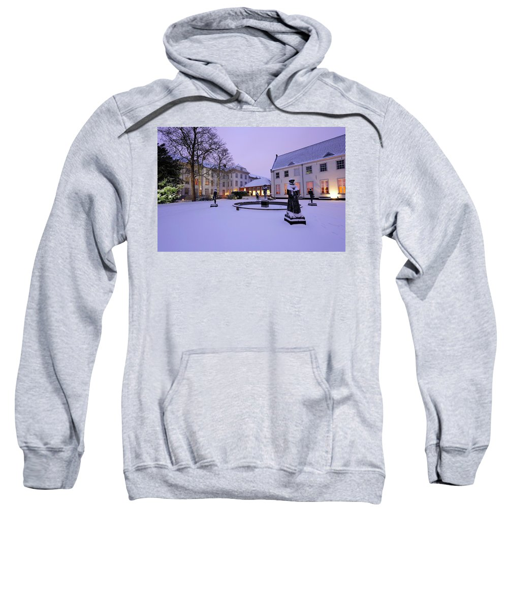 Hotel Sweatshirt featuring the photograph Sculptures In Front Of Hotel Karel V In Utrecht 11 by Merijn Van der Vliet