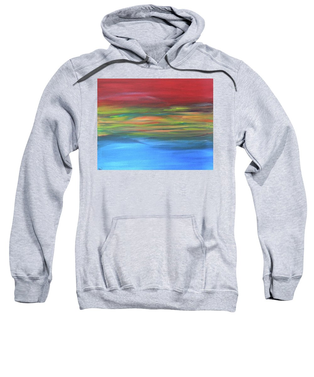 Abstract Painting Sweatshirt featuring the painting Sea And Sky by Carrie Godwin