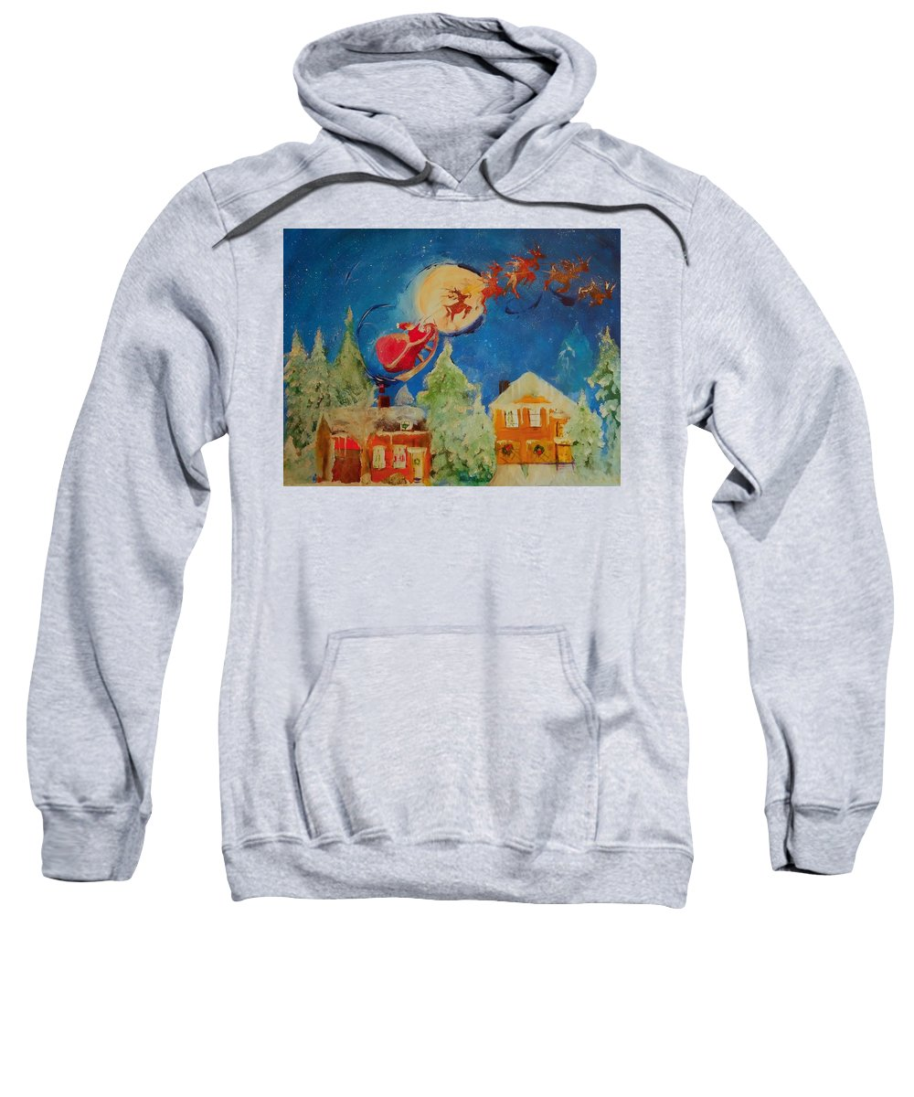 Christmas Sweatshirt featuring the painting Sea Blue Christmas by Lisa Kaiser