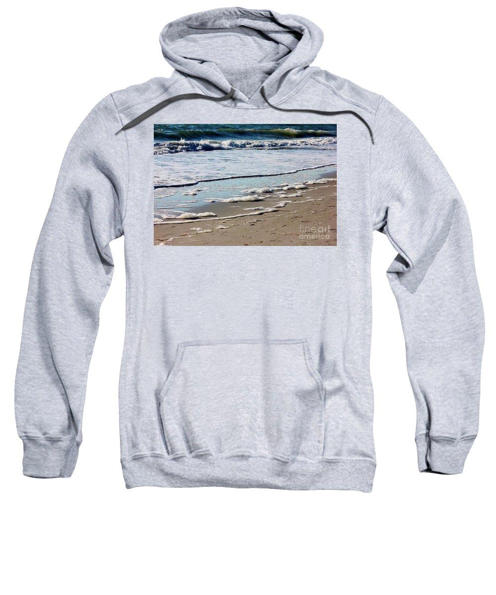 Shore Sweatshirt featuring the photograph Sea Foam At The Shore by Mesa Teresita
