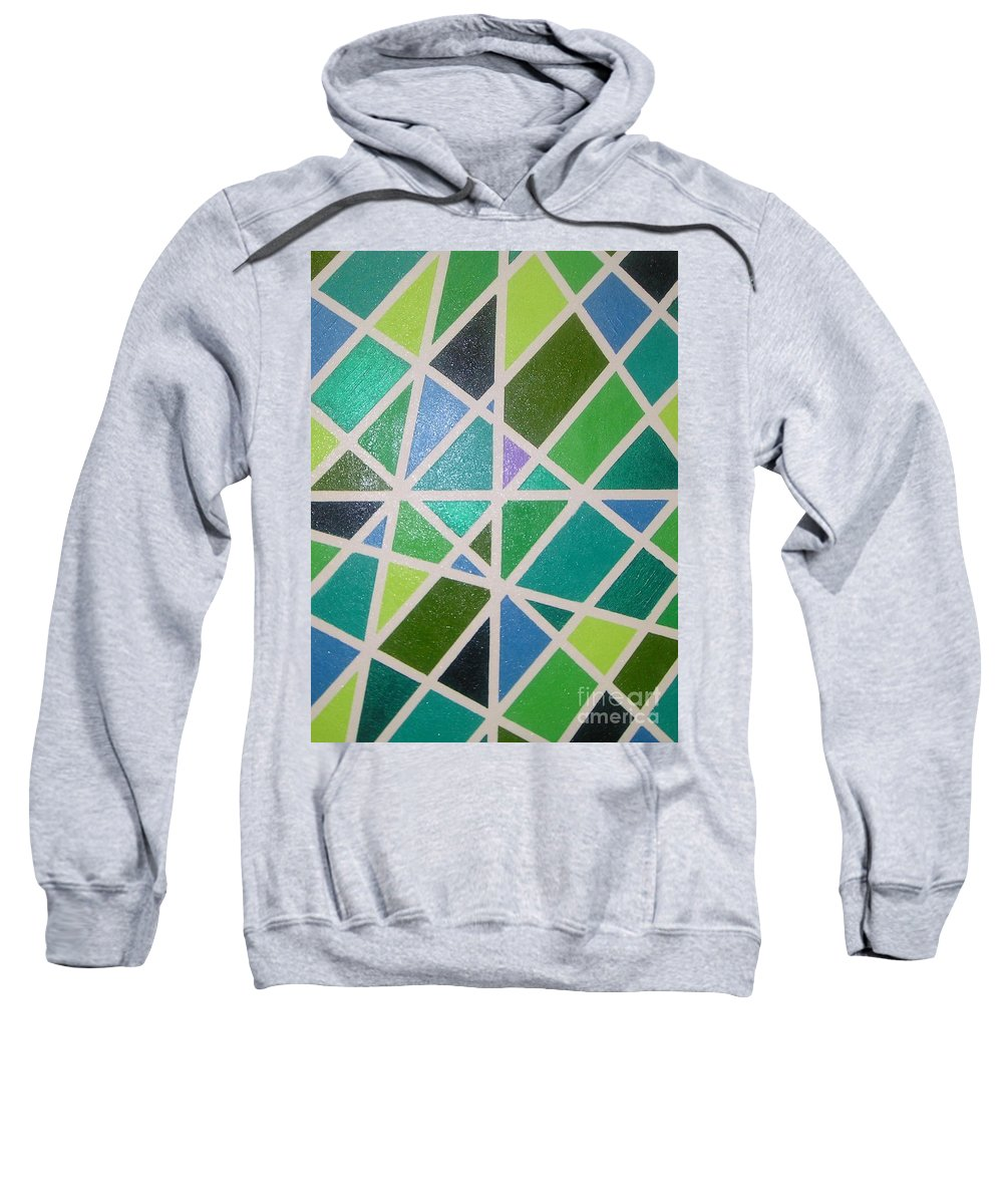 Green Sweatshirt featuring the painting Sea Glass Revisited by Maria Bonnier-Perez