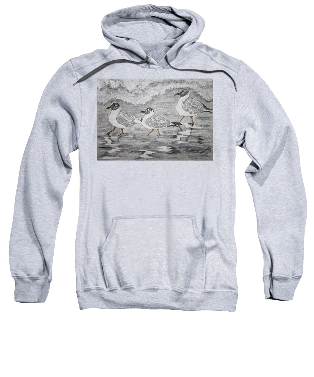 Sea Gulls Sweatshirt featuring the painting Sea Gulls Dodging The Ocean Waves by Kathy Marrs Chandler