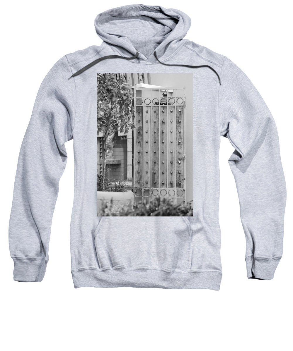 Black And White Sweatshirt featuring the photograph Sea Horse Gate by Rob Hans