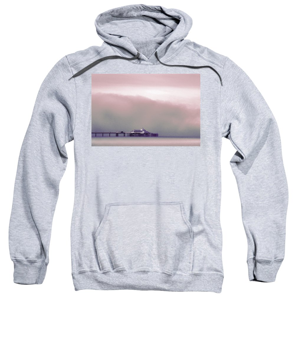 Pier Sweatshirt featuring the photograph Sea Mist Replaces The Great Orme As The Backdrop To Llandudno Pier by Mal Bray