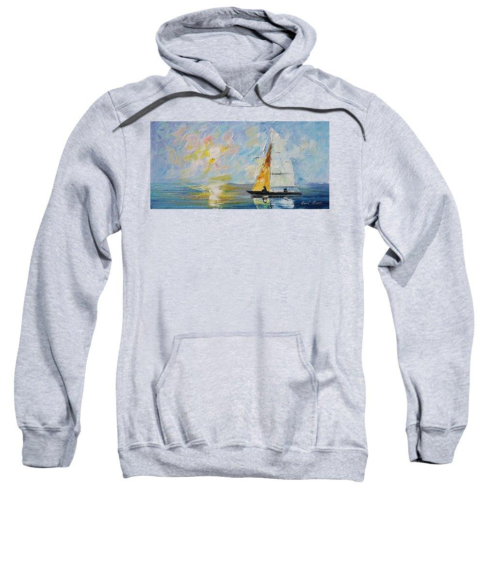 Afremov Sweatshirt featuring the painting Sea Morning New Original by Leonid Afremov