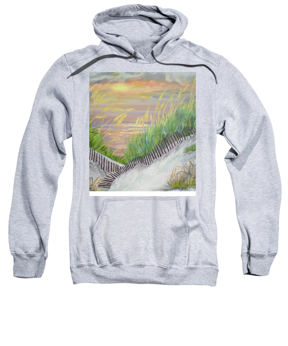 Seascape Sweatshirt featuring the painting Sea Oats by Hal Newhouser