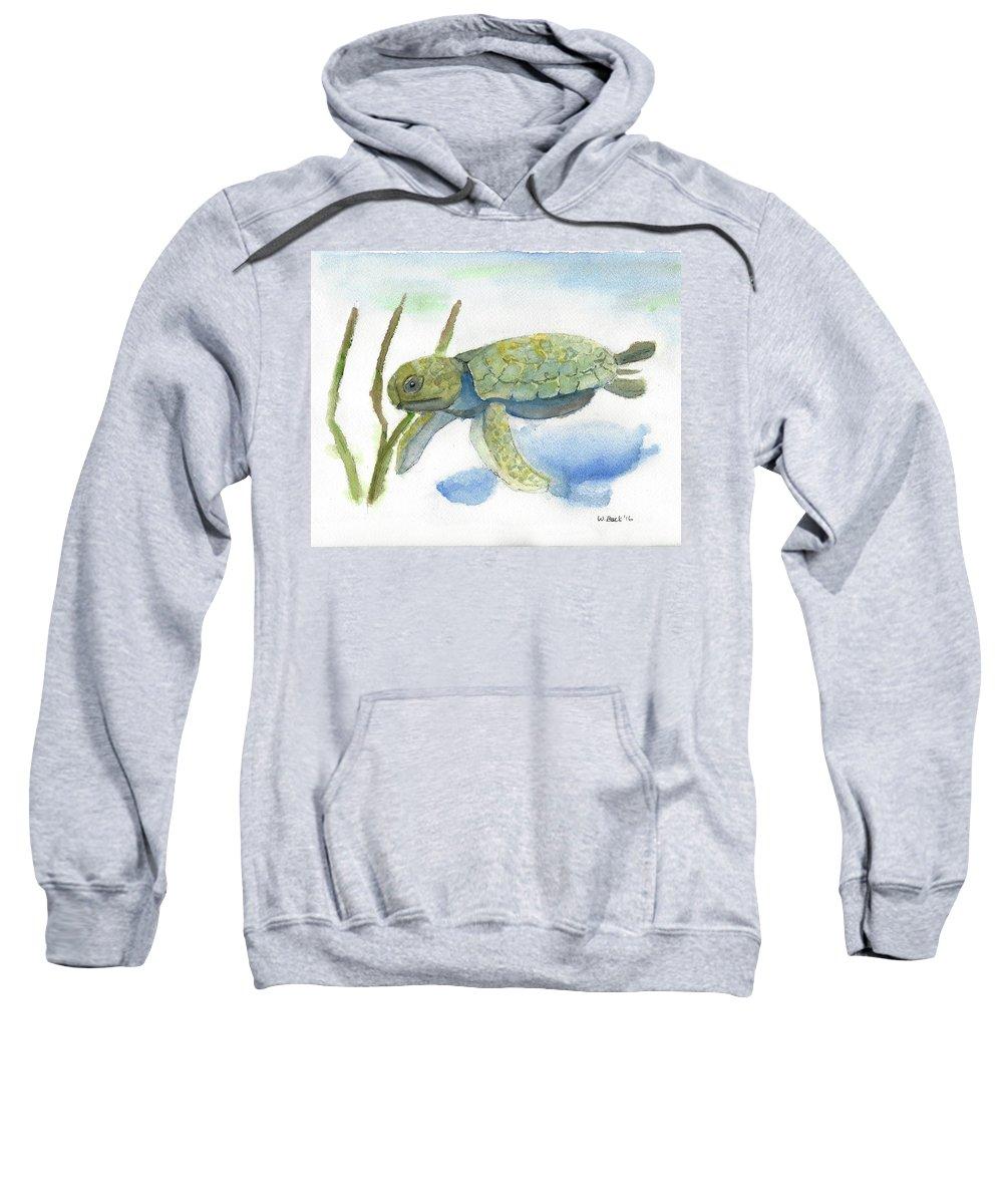 Sea Turtle Watercolor Marine Life Ocean Beach Dolphins Fish Aquatic Sweatshirt featuring the painting Sea Turtle by William Buck