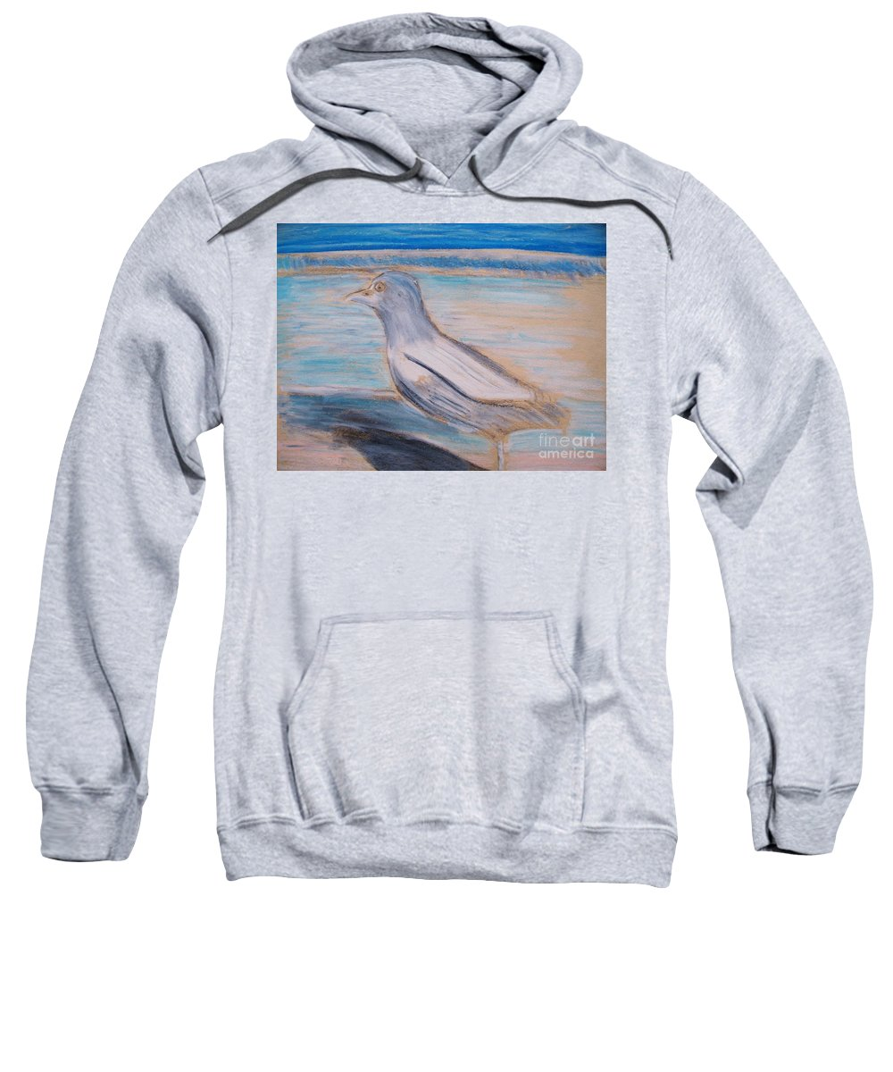 Seagull Sweatshirt featuring the painting Seagull On Seashore by Eric Schiabor