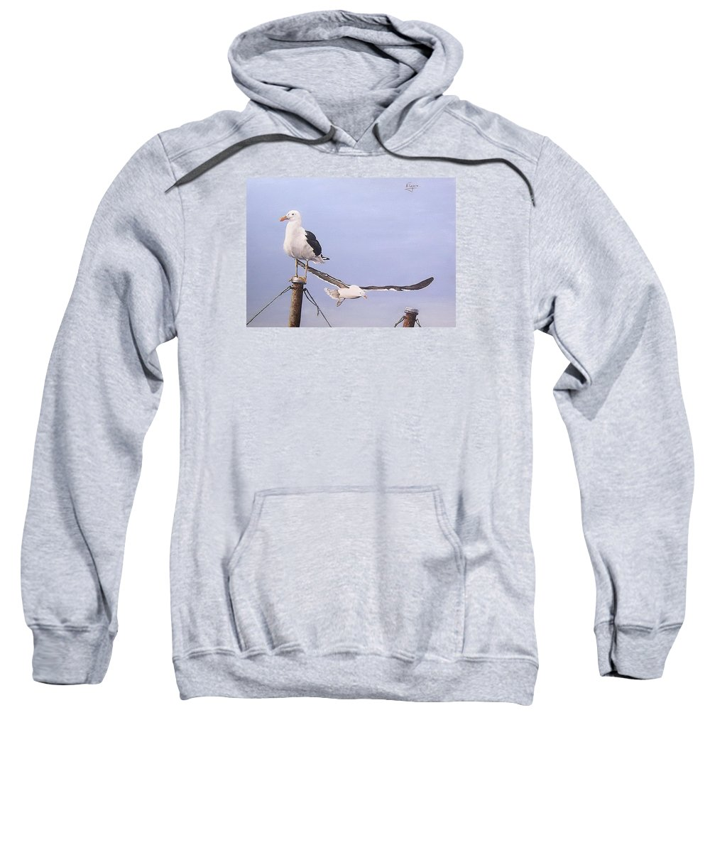 Seascape Gulls Bird Sea Sweatshirt featuring the painting Seagulls by Natalia Tejera