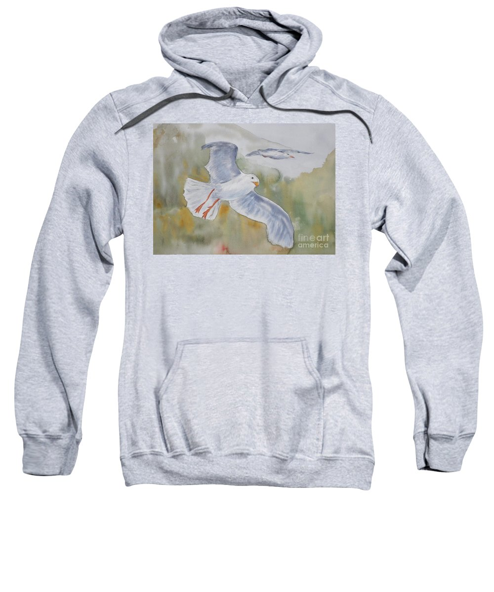 Souring Sweatshirt featuring the painting Seagulls Over Glacier Bay by Vicki Housel