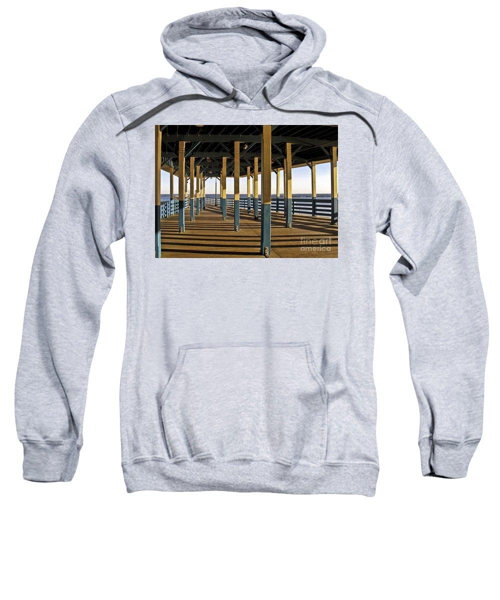 Seascape Sweatshirt featuring the photograph Seascape Walk On The Pier by Carol F Austin