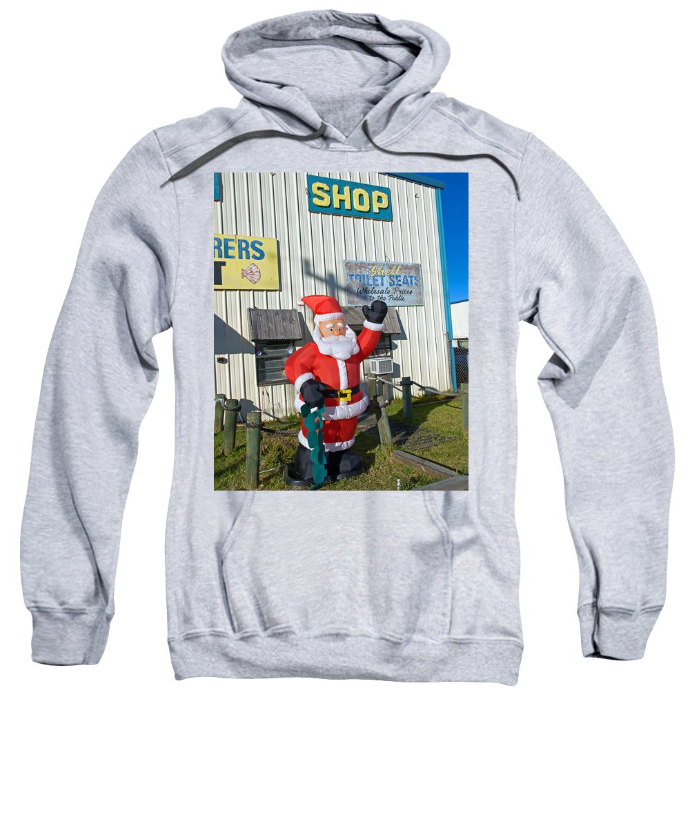 Florida; Christmas; Gift; Santa; Claus; Suggestion; Suggest; Present; Recommend; Recommendation; Cap Sweatshirt featuring the photograph Seashell Seats For Christmas by Allan Hughes
