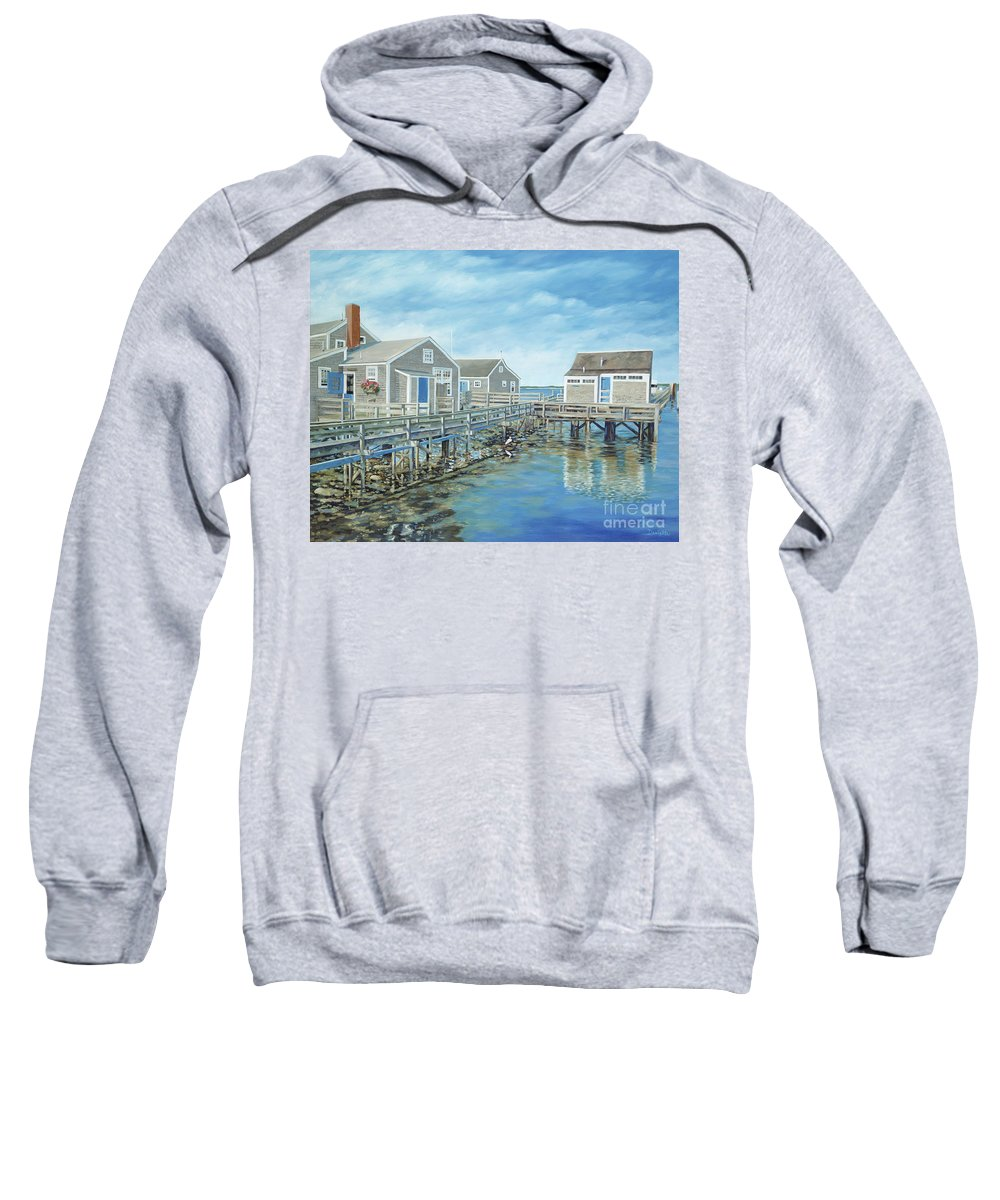 Nanutucket Sweatshirt featuring the painting Seaside Cottages by Danielle Perry