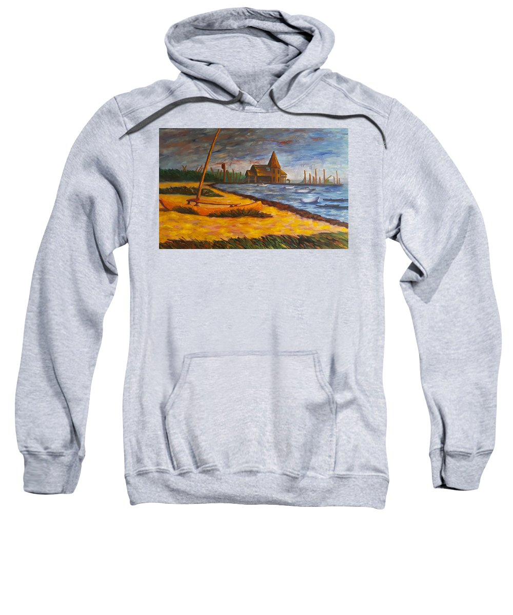 Marine Sweatshirt featuring the painting Seaside Park Nj Yacht Club by Joann Renner