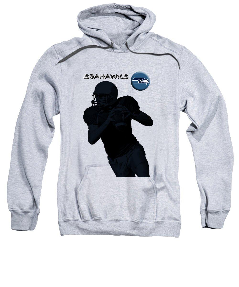 Seahawks Sweatshirt featuring the digital art Seattle Seahawks Football by David Dehner