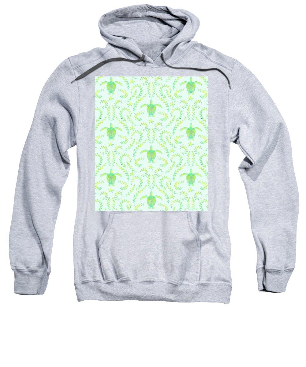 Sweatshirt featuring the mixed media Seaturtlepattern3 by Macey Mackubin