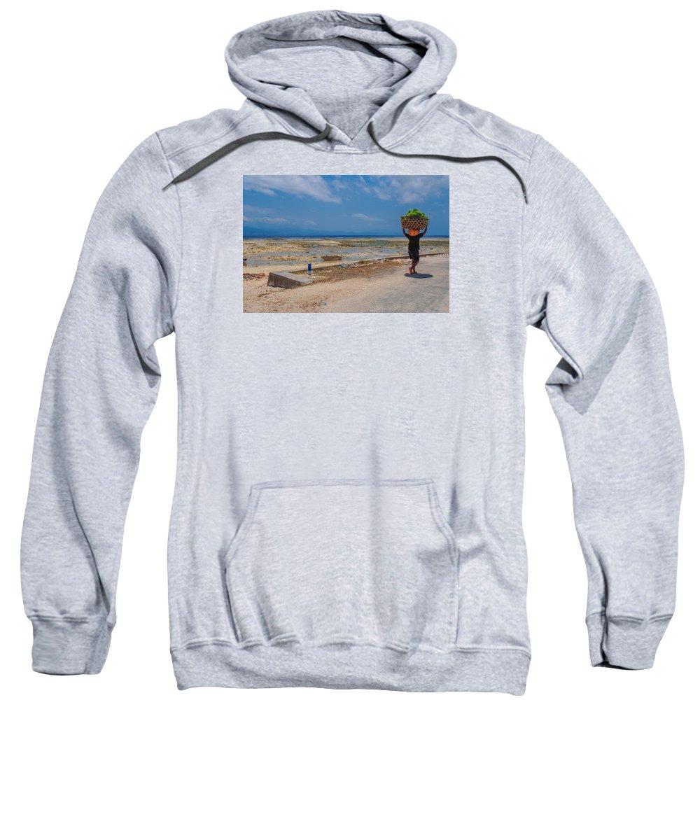 Seaweed Sweatshirt featuring the photograph Seaweed Farmer by Megan Martens